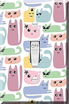 Toggle Wallplate Single Light Switch Cover Plate - Cute Colorful Cats Pattern
