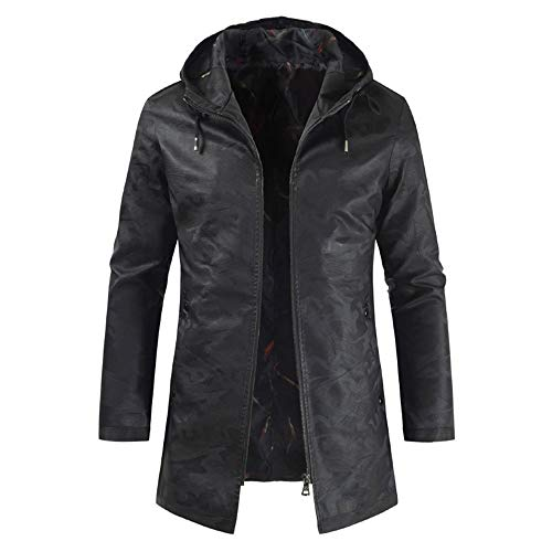 Men's Leather Jacket Medium Long Sleeve Men's Retro Fashion Jacket Transition Jacket Biker Faux Trench Coat Dark Pattern Hooded Drawstring Long Leather Jackets New Outdoor Windproof Tops 4XL