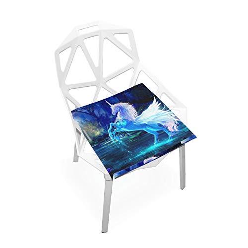 Cojín de espuma viscoelástica para sillas de cocina, suave, lavable, antipolvo, silla de comedor, cojín de 40,6 x 40,6 cm (unicornio) 2030097