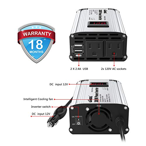 300W Power Inverter DC 12V to 110V AC Car Inverter with 4.8A Dual USB Car Adapter with LED Display