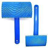 Rodillo de Pintura de Goma de Imitación de Madera, Regerly Rodillo de Pintura Con Mango DIY Decoracion de La Pared Herramientas Pared de Muebles Azul
