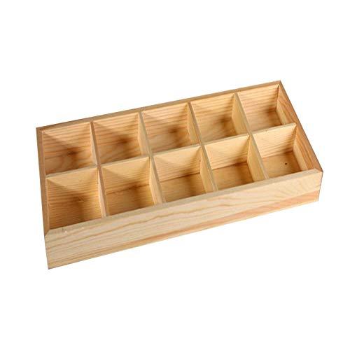 INFILM 10 rejillas de madera suculentas macetas, caja de almacenamiento multifuncional para almacenamiento, cajón de escritorio, bandeja organizadora para plantas, flores, manualidades
