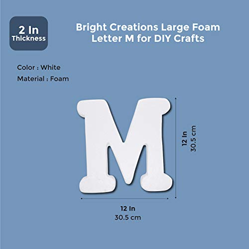 Foam Letters for Crafts, Letter M (White, 12 in)