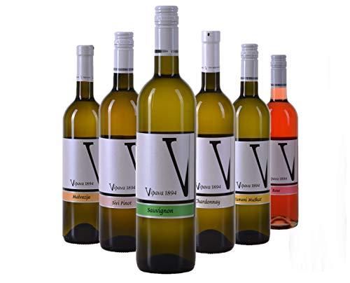 VIPAVA 1894 Weißwein Probierpaket: White Label Weine (Gelber Muskateller, Sauvignon, Chardonnay, Grauburgunder, Malvazija, Rosè), Weißwein Verkostung, Qualitätswein - ZGP (6x 0,75L)