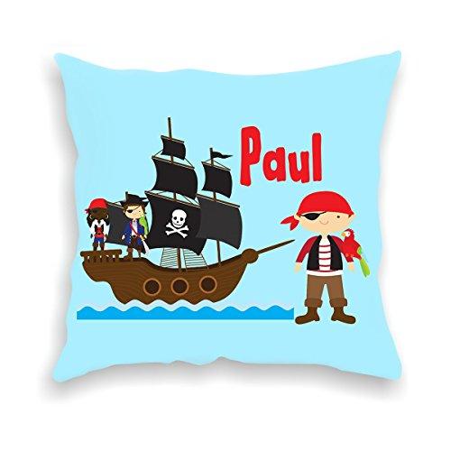wolga-kreativ Kissen-bezug Deko-Kissen Pirat Piratenschiff 40x40 cm incl. Füllung Namenskissen Geschenk-e Baby-Kissen Kinder-Kissen Kinderzimmer Babyzimmer Mädchen Junge-n mit Namen (flauschig)
