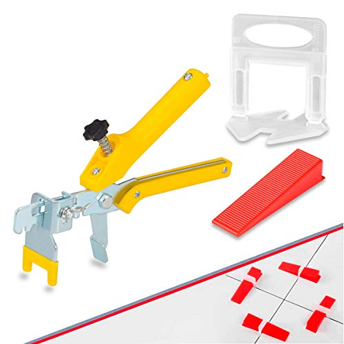 """【Upgrade Version】Tile Leveling System 1/8"""" Kit, 600 pcs Tile Spacers Clips, 200 pcs Reusable Wedges and 1pc Floor Tiles Pliers for Bath Room, Living Room Floor & Wall, Tile Tools Easy Installation"""