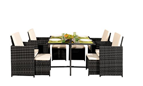 Comfy Living 8 Seater Rattan Outdoor Garden Furniture Set - 4 Chairs 4 Stools & Dining Table (Without Cover, Dark Grey)