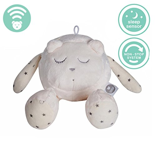 Szumisie Lena White Noise Toy with Cry Sensor & Non Stop System Suitable from Birth, with Free Teething Ring and Plush Pocket, 36cm Tall (Lena Gris) … (Head Ecru)