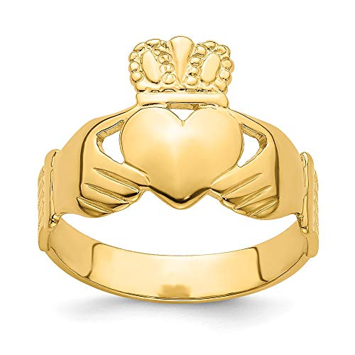 14k Yellow Gold Irish Claddagh Celtic Knot Band Ring Size 9 Man Fine Jewellery For Dad Mens Gifts For Him