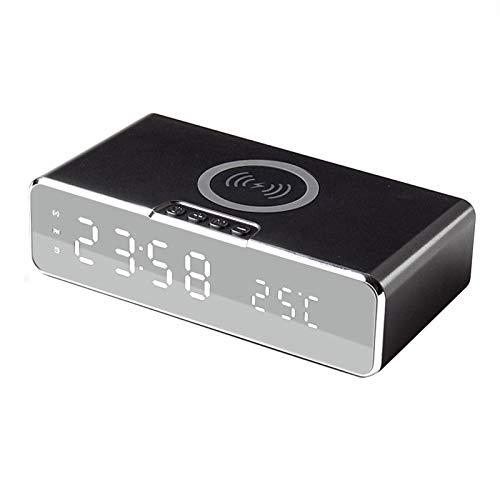 Reloj Digital Eléctrico LED, 3 Alarmas, Termómetro Reloj Reloj Espejo HD Interruptor De 12/24 Horas Pantalla De Tiempo/Temperatura con Cargador Inalámbrico para Teléfono,Negro
