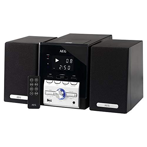 AEG MC 4443 CD/MP3, Musik-Center inklusive Infrarot-Fernbedienung, großes LCD-Display, LED-Kontrollleuchte, USB-Port, AUX-IN, 2-Band-Tuner (UKW/UKW-Stereo), schwarz