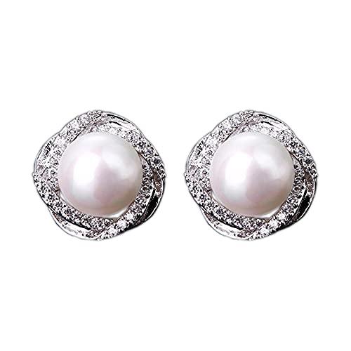 OMING Pendientes Pendientes de Perlas de Perlas cultivadas de Agua Dulce de 8 mm en Plata esterlina Pendientes para Mujer