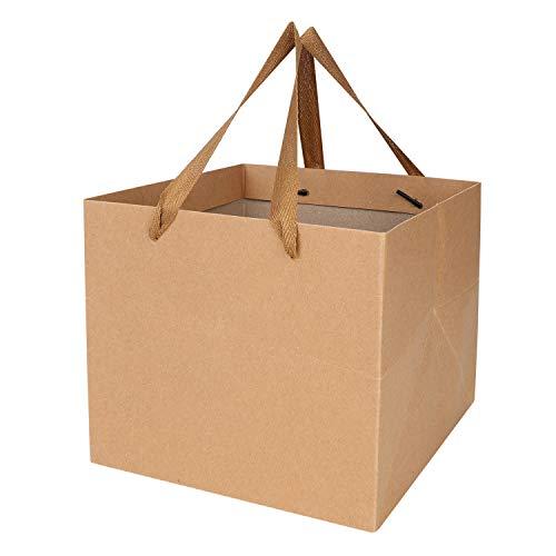 紙袋 ギフトバッグ 手提げ袋 10枚セット クラフト紙 無地 厚手 丈夫 幅広 マチ広 ラッピング プレゼント ケーキ お菓子 お土産 洋服 贈り物 引き出物袋 結婚式