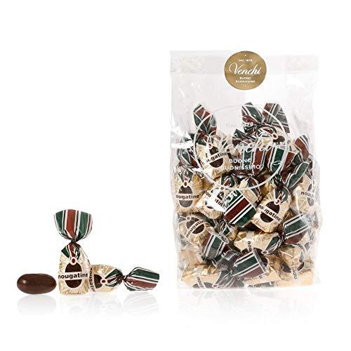 Venchi - Astuccio Nougatine - Cioccolatini con Nocciole Piemonte I.G.P. rivestite di puro Cioccolato Fondente, 250g - Senza Glutine