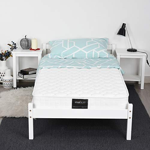 Homy Casa Cadre de lit Structure de Lit Simple Sommier en Bois 190 x 90 cm - Blanc