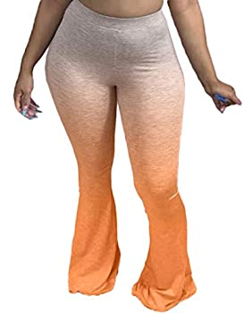 Women s Plus Size Bell Bottom Pants High Waist Comfy Yoga Stretch Palazzo 70s Bell Bottom Fit to Flare Pants Orange 3XL