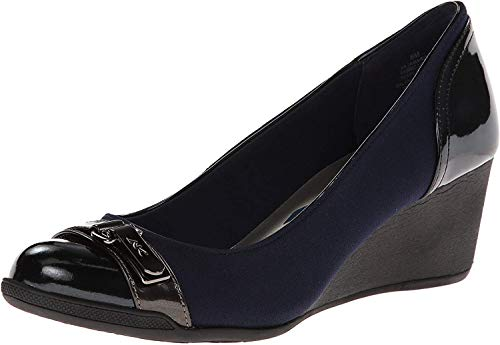 Anne Klein Sport Women's Tamarow Fabric Wedge Pump, Navy, 7.5 M US