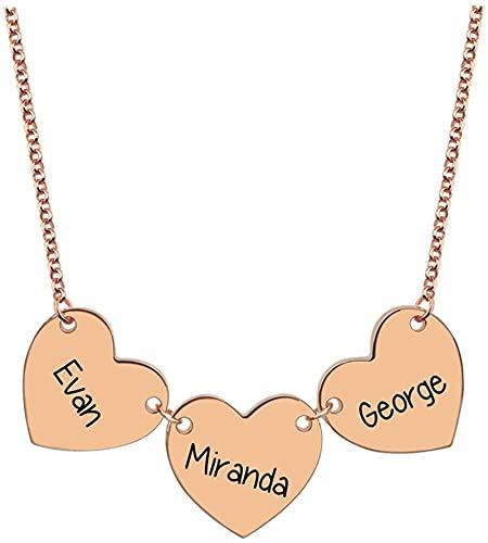 Hrozyho Collar personalizado con nombre grabado de 3 corazones para miembros de la familia Madre Abuela Esposa Amigos Colgante Joyas Collar de corazón (Plata de ley 925) 14.0 Oro rosa