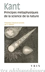 Principes métaphysiques de la science de la nature d'Emmanuel Kant
