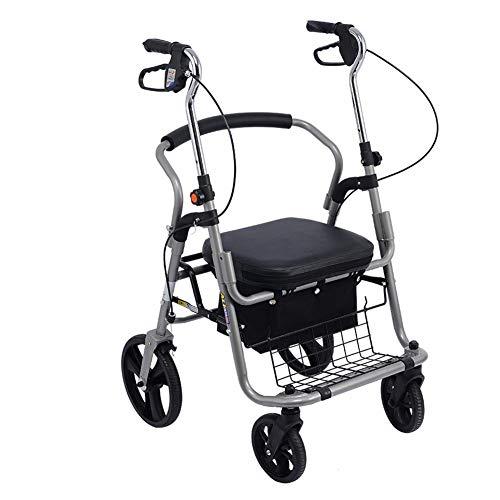 Zjyfyfyf Shopping Trolleys Aluminium Vier Fahrbare Rollator Gehhilfesitz & Einkaufswagen Convenient Folding Trolley - Vierrädrige Einkaufswagen for Ältere Menschen, 60X65X95-107 cm (Farbe : Schwarz)