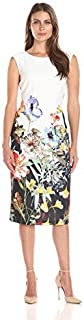 S.L. Fashions Women's Floral-Printed Boarder Sheath Dress