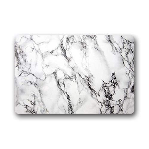 Eureya Paillasson en caoutchouc pour intérieur/extérieur Motif marbre Blanc 40 x 60 cm