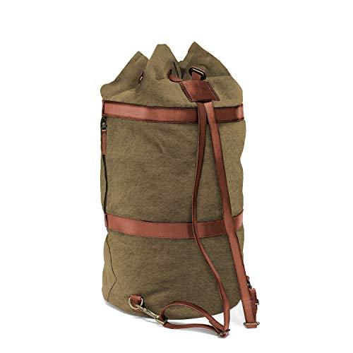 DRAKENSBERG Duffel Bag - Sacca da marinaio, borsone e zaino grande in stile rètro vintage, realizzato a mano in qualità premium, 60 L, tela e pelle, verde oliva, DR00125