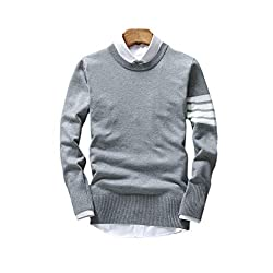 Dfine Mens Cotton O-Neck Sweatshirt T-Shirt (with Attached Collar) Gray