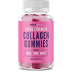 MAV Nutrition Collagen Hair Vitamins Gummy with Vitamin C & Zinc for Immune Support for Women & Men; Supplement & Biotin; Non-GMO, 60 Count