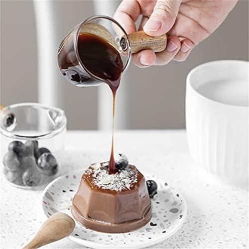 WWmily 1 mini jarra de cristal de 4 pulgadas con mango de madera de café con salsa de leche para servir jarra de chupito vasos de café taza de café para servidor de inmersión tazones jarabe tarro