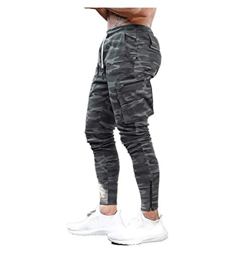 Nuevo Pantalones Deportivos Gym Hombre Pantalones de Chándal Ajustados Elástico Pantalones Cargo con Hebilla de Toalla Moda Running Athletic Jogger Fitness Jogging Yvelands(Camuflaje,XL)