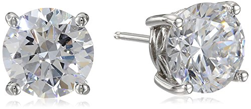Platinum Plated Sterling Silver Stud Earrings set with Round Cut Swarovski...