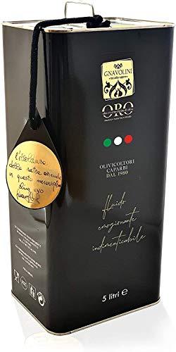 Olio Extravergine di Oliva 100% ITALIANO Estratto a Freddo di Gnavolini Raccolta Sapore | Latta da 5 Litri | Olio Evo per l'eccellenza in Cucina