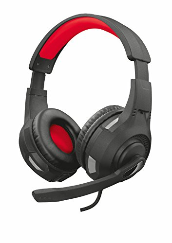Trust Cuffie Gaming GXT 307 Ravu con Microfono Ripiegabile e Archetto Regolabile, 3.5 mm Jack, Filo, Over Ear, PC, PS4, PS5, Xbox Series X, Xbox One, Switch, Nero/Rosso
