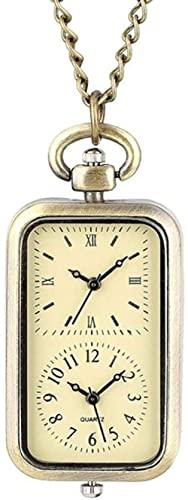 JZDH Reloj de Bolsillo Bronce Doble Zona de Tiempo Rectángulo Rectángulo Reloj Movimiento Cuarzo Camiseta Coche Llavero Cross Cross Mujer Señoras Vestido Collar Regalos (Color : Double Time)