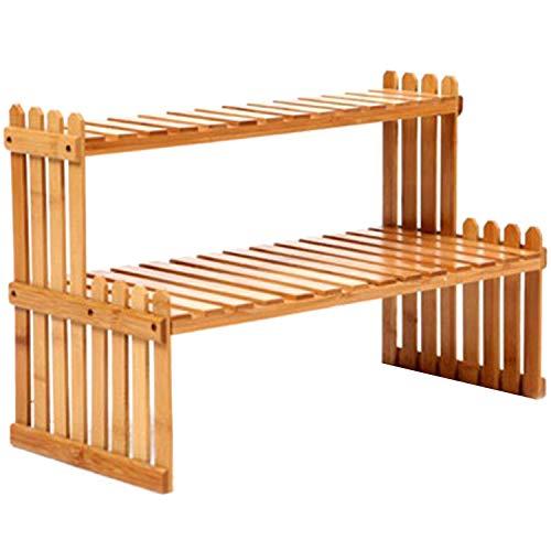 Binchil Estantería de bambú de 2 capas para cocina, especias, botellas, especias, decoración, organizador, estantería para casa, escritorio