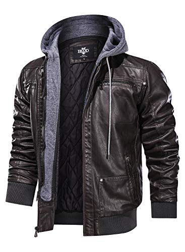 Hood Crew Men's Warm PU Faux Leather Zip-Up Motorcycle Bomber Jacket With a Removable Hood Coffee