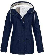 OEAK Damesregenjas, gevoerd, waterdicht, outdoorjas, winter, regenjas met capuchon, windbreaker, overgangsjas, windproof jas