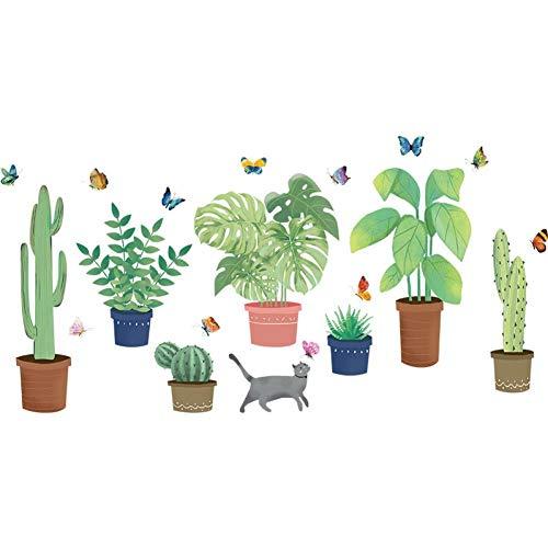 Leeypltm muursticker, motief plant in pot, voorkomt water, verwijderbaar, voor kantoor, woonkamer, slaapkamer, achtergrond voor muur, als verjaardagscadeau