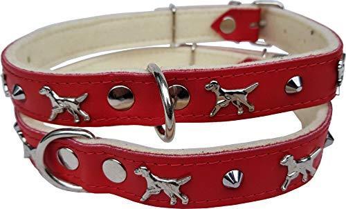 Lusy011 *Setter* Hunde Halsband - Hundehalsband- Halsumfang 45-57cm/25mm, Leder. ROT (PL.17-3-2-29)