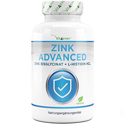 Zink 25 mg - 400 Tabletten - Premium: Zinkbisglycinat + L-Histidin - Besonders hohe Bioverfügbarkeit - Chelat-Komplex - Laborgeprüft - Vegan - Hochdosiert