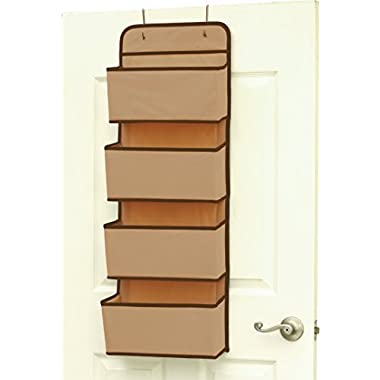 SimpleHouseware 4 Pocket Over the Door Wall Mount Hanging Organizer, Beige