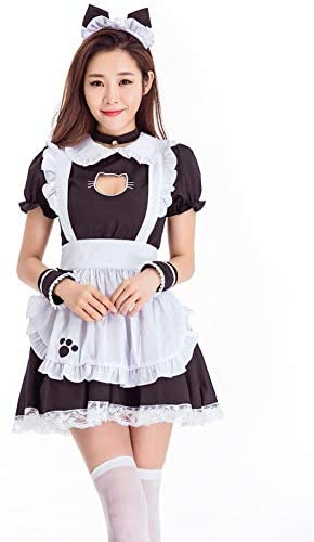 5 Pieces Fancy Dress for Halloween Cosplay GRAJTCIN Womens Cat Ear French Maid Costume with Apron
