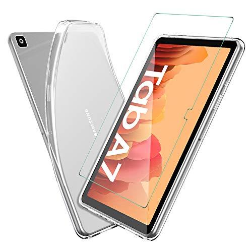 ELTD Hülle mit Bildschirmfolie für Samsung Galaxy Tab A7, TPU Schutzhülle mit Glas Bildschirmsfolie für Samsung Galaxy Tab A7 2020 10.4 Zoll (Transparent)