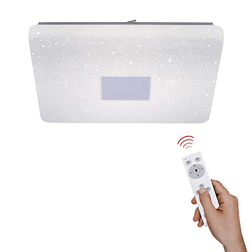 LED-Deckenlampe in Sternenhimmel-Optik, 60x60cm   dimmbare Deckenleuchte mit Farbtemperatursteuerung warmweiß - kaltweiß   Sternenlicht Deckenbeleuchtung mit Fernbedienung