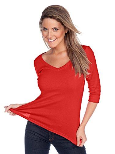 Kavio! Women V Neck 3/4 Sleeve Top Red S