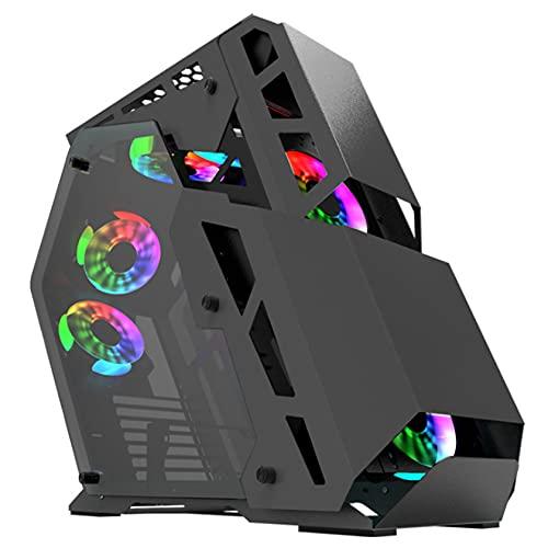 YINxy Caja de PC de Torre Media (Vidrio Templado de Doble Cara, Espacio Interior Espacioso, Alto Volumen de Aire, 7 Posiciones de Ventilador, USB3.0)
