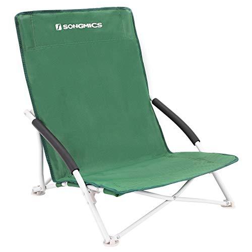 SONGMICS GCB61GV1 - Silla de Camping para Adultos, Unisex, Plegable, soporta hasta 140 kg, Tejido Oxford 600D, Color Verde, 64 x 56 x 53 cm