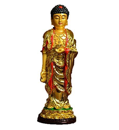 Gpzj Kunsthandwerk Sakyamuni Harz Amitabha Gemalte Buddha Statue Buddhistische Figur Buddhismus Figur Joss