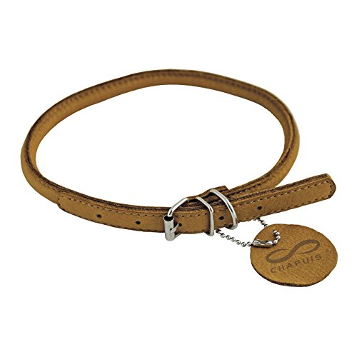 CHAPUIS SELLERIE SLA674 Collar Ajustable Redondo Soft para Perro - Cuero marrón - Diámetro 6 mm - Largo 25-33 cm - Talla S